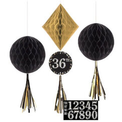 Hanging Sparkling Black Decorations - Add An Age