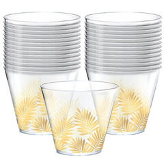 Clear Palm Leaf Plastic Cups - pk30