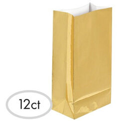 Metallic Gold Paper Treat Bags - pk12