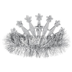 Silver Star Tinsel Tiara - Each