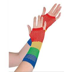 Rainbow Fishnet Gloves - Long