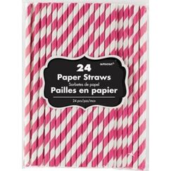 Bright Pink White Stripes Paper Straws - pk24