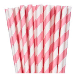 Pink White Stripes Paper Straws - pk24