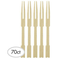 Bamboo Cocktail Mini Forks - pk70