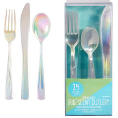 Iridescent Plastic Cutlery Set for 8