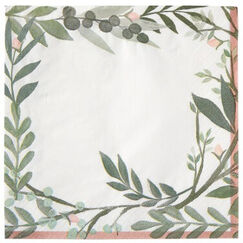 Large Love And Leaves Napkins - pk16