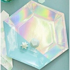 Large Shimmering Iridescent Plates - pk8
