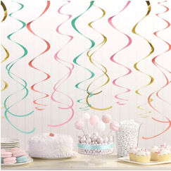 Hanging Pastel & Gold Swirls - pk12