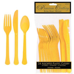 Yellow Heavy Duty Cutlery for 8