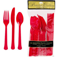 Red Heavy Duty Cutlery Set for 8