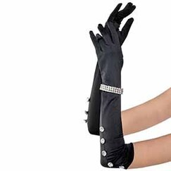 Long Satin Rhinestone Gloves