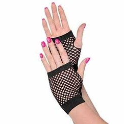 80's Black Fishnet Gloves