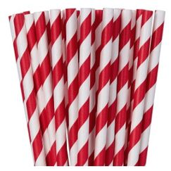 Red White Stripe Paper Straws - pk24