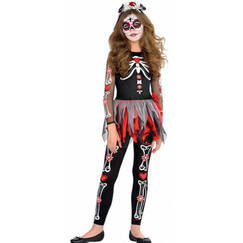 Scared To The Bone Costume (Girl 5-7yr)