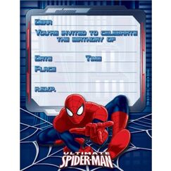 Spiderman Party Invitations for 8
