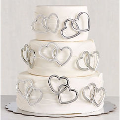 Silver Hearts Cake Topper Picks - pk12