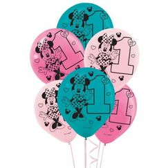 Minnie Mouse 1st Birthday Balloons - pk15