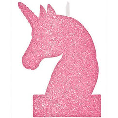 Large Magical Unicorn Pink Glitter Candle - Each