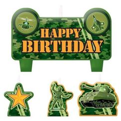 Camouflage Mini Birthday Candles - pk4