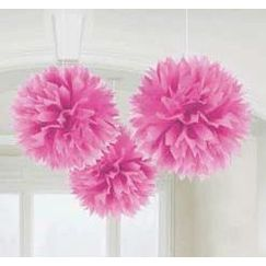 Hanging Bright Pink Fluffy Balls - pk3