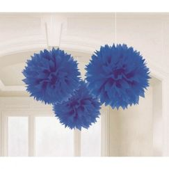 Hanging Royal Blue Fluffy Balls