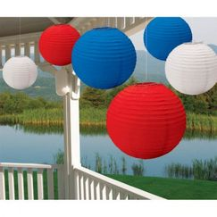Red White Blue Summer Lanterns - pk6