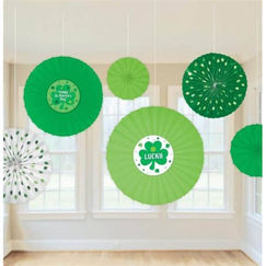 St. Patrick's Day Hanging Fans - pk6