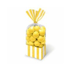 Yellow and White Stripes Cello Bags - pk10