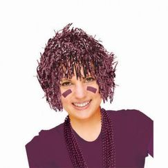 Burgundy Tinsel Wig