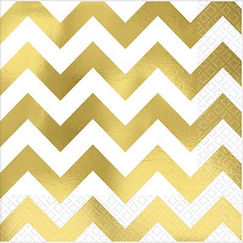 Large Gold Chevron Napkins - pk16