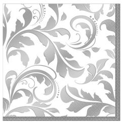 Large Silver Elegant Scroll Napkins - pk16