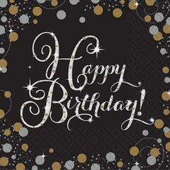 Large Sparkling Black Birthday Napkins - pk16