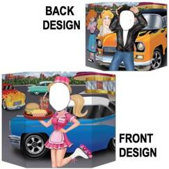 Double-Sided Carhop Greaser Photo Op Prop Stand Up