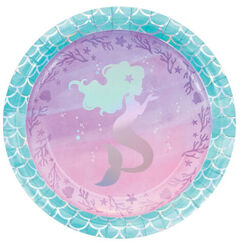 Large Mermaid Shine Plates - pk8