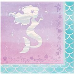 Large Mermaid Shine Napkins - pk16