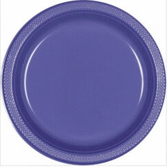 Large Purple Plastic Plates - pk20