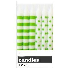 Lime Green Polka Dots Candles - pk12