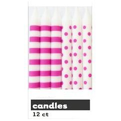 Hot Pink Polka Dots Candles - pk12