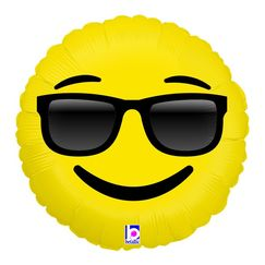 Emoji Face with Sunglasses Foil Balloon