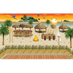 Sunset Luau Flower Border Insta Scene Kit
