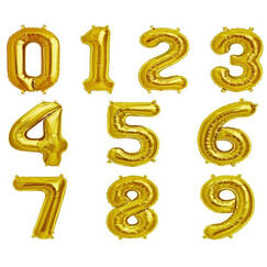 Gold (40cm) Air-filled Number Balloons