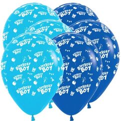 Blue Birthday Boy Balloons - pk6