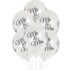 CLEAR Mr & Mrs Balloons - pk6