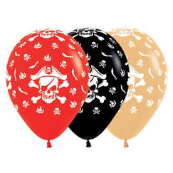 Red Black Toffee Pirate Balloons - pk25