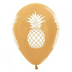 White Pineapples On Gold Balloons - pk25