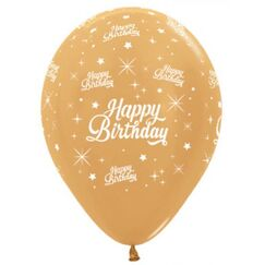 Gold Birthday Twinkling Balloons - pk6