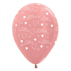 Happy Anniversary Rose Gold Balloons - pk6