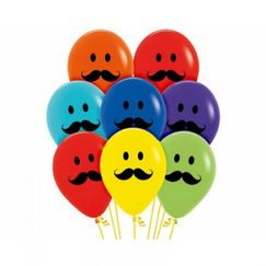 Smiley Moustache Faces Balloons - pk12
