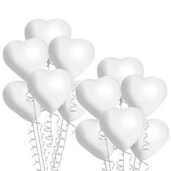 White Heart Shape Balloons - pk12