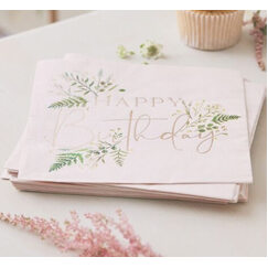 Botanical Birthday Napkins - pk16